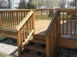This is a similar view of the deck after it has been stained & sealed.